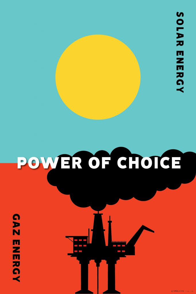 Poster for solar energy vs Gas energy