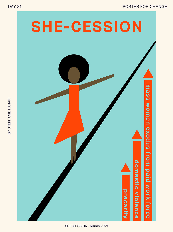 Women tightrope walking illustating she-cession