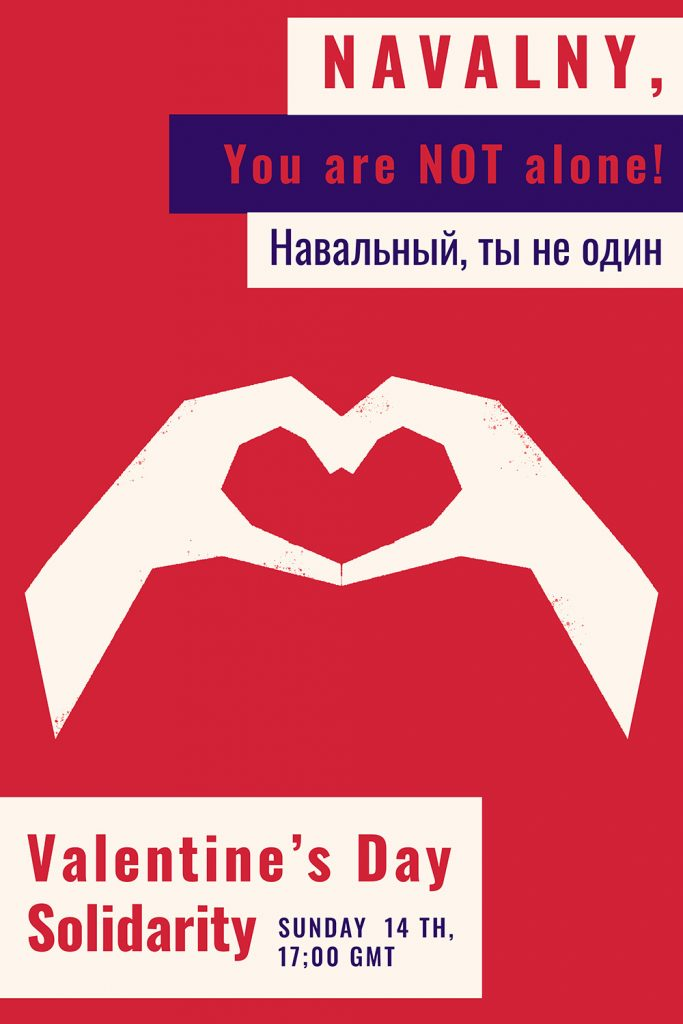 Support Navalny with a heart sign