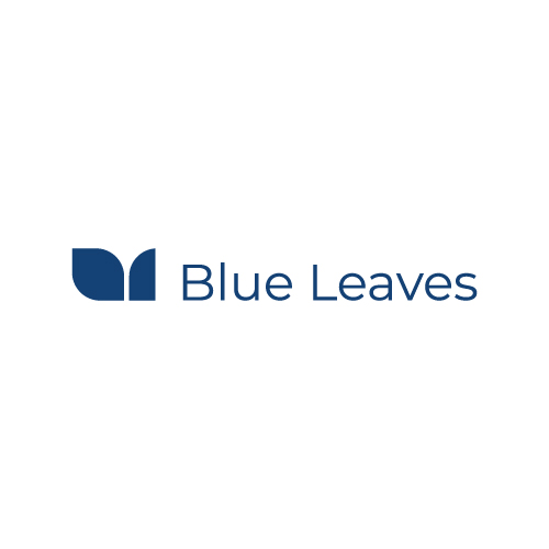 Blue leaves horizontal logo