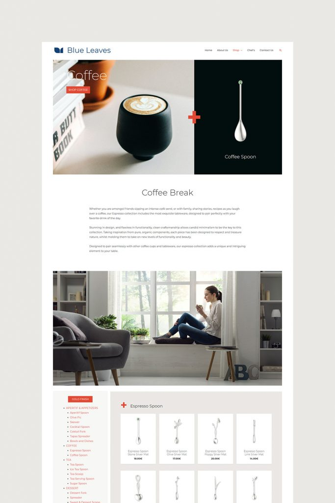 Coffee Collection Page Design