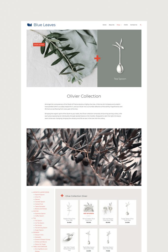 Olivier Collection Page Design