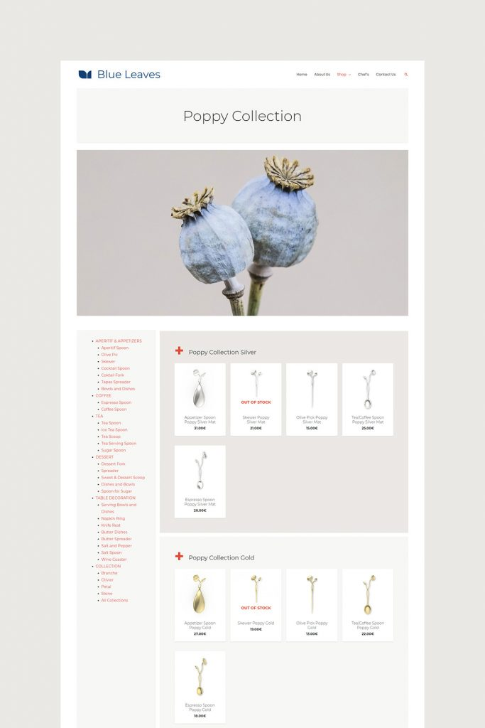 Poppy Collection page design