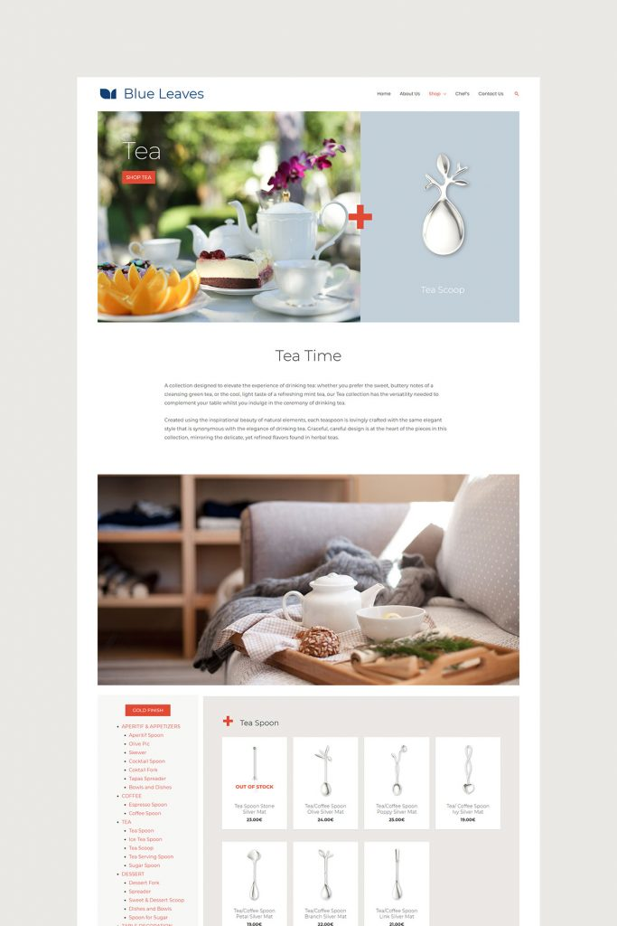 Blue Leaves tea collection Mockup page